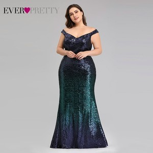 Image 5 - Plus Size 2020 Prom Dresses Long Ever Pretty EP08999 Sexy Mermaid Sequined Sparkle Red Prom Gown Elegant Special Occasion Gowns