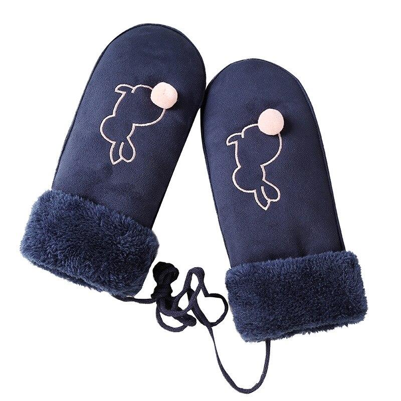 Children Lovely Cartoon Pattern Glove Kids Boy Girls Outdoor Sports Ski Mittens Winter Warm Thick Cashmere Suede Leather Gloves