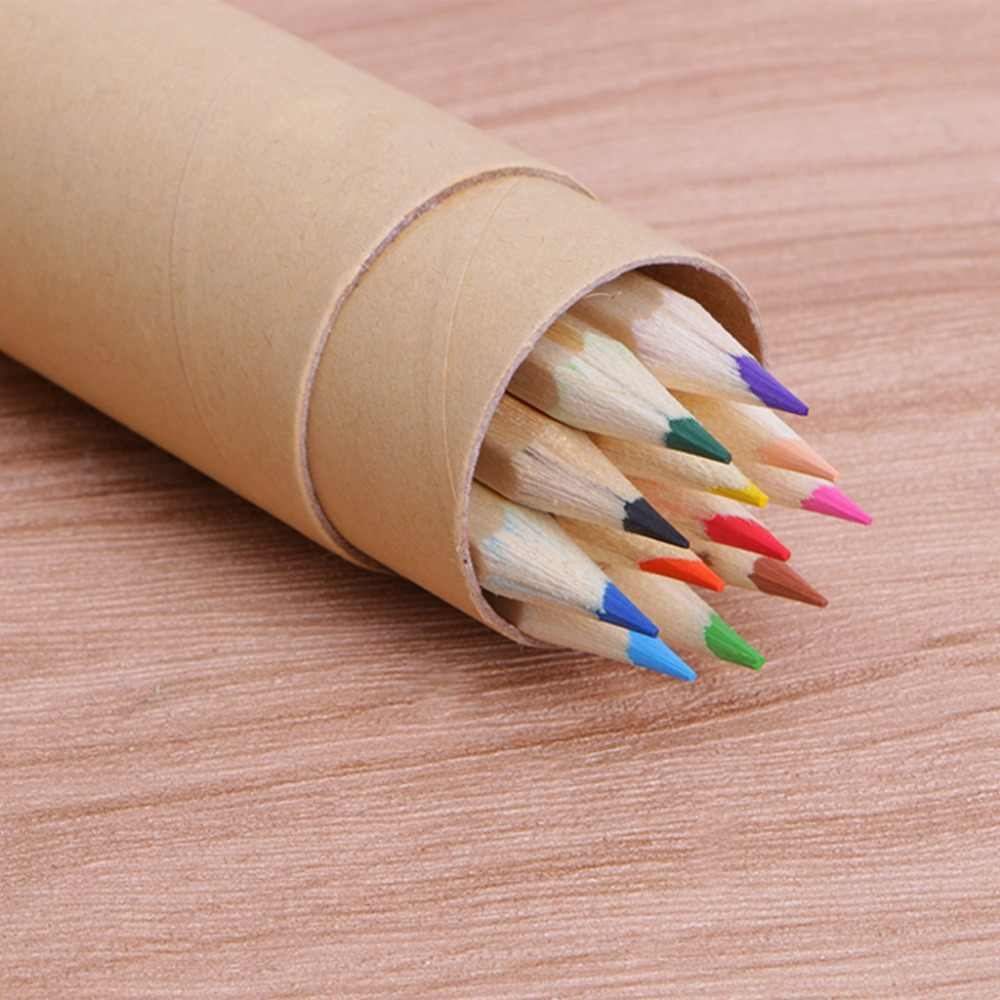 12 pcs colored pencils packed in cute cartoon pencils case art color drawing apices colores