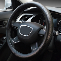 37cm Embossed Steering Wheel Cover Leather Steering Wheel Wrap For Most Car Universal Auto Accessories
