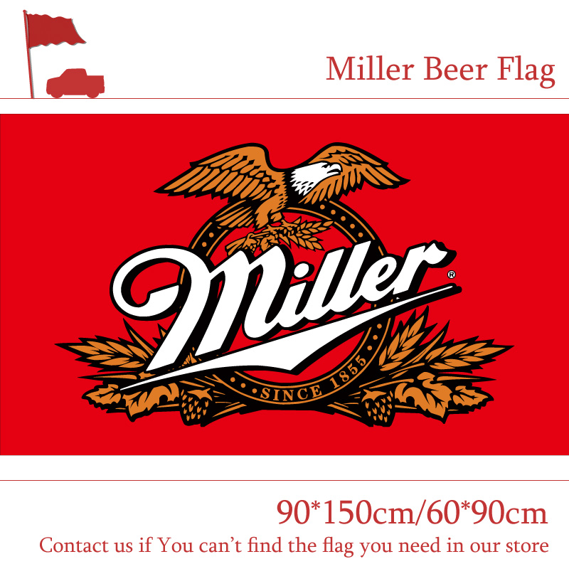 90*150cm 60*90cm Miller Beer Flag For Bar Party Sign 3x5FT