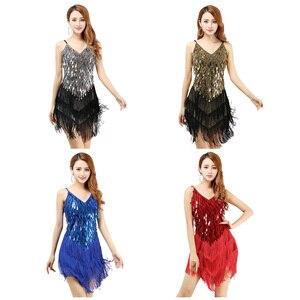 Image 5 - فستان رقص اللاتينية مثير هامش النساء أزياء رقص موضة جديدة بلا أكمام فستان الترتر أداء الملابس الرخيصة