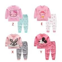 8 видов цветов 2 шт./компл. для маленьких детей Одежда для девочек топ+ Штаны хлопковые пижамы для детей, одежда для сна