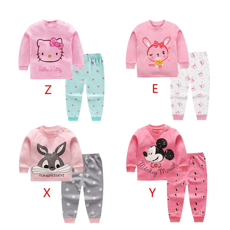 8 colors 2pcs/set kids baby girls clothes top+pants cotton baby pajamas sleepwear title=