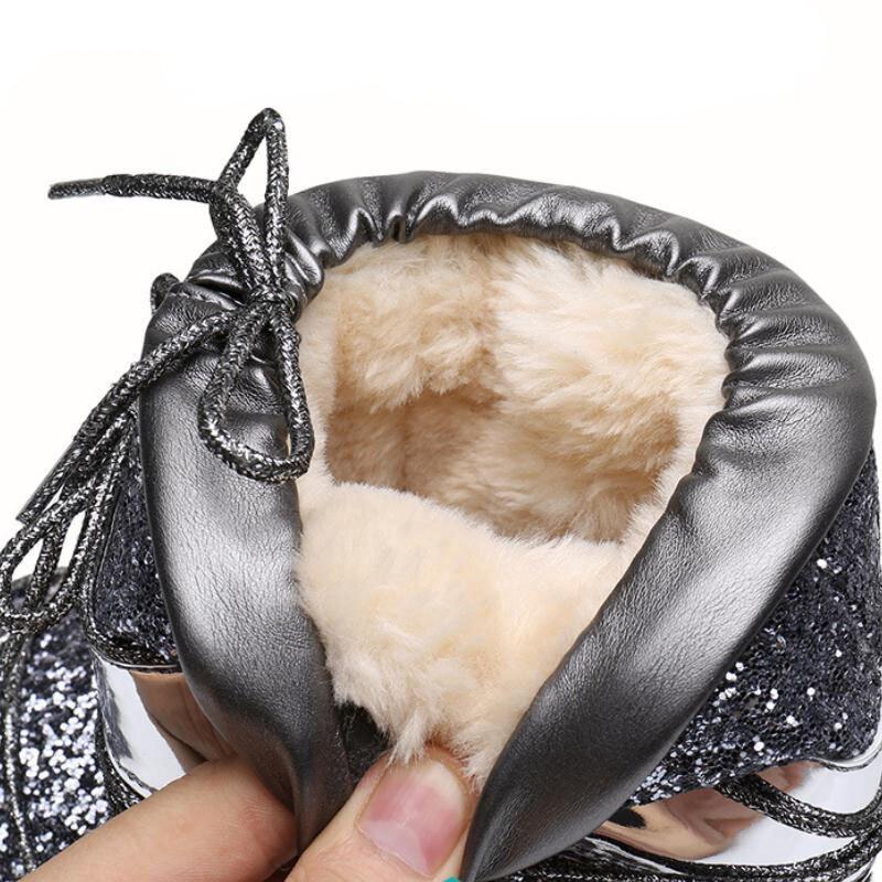 Bling Chaussures Fourrure Plus La Noir Chaud Manque Femelle Hiver argent Neige Plate Femmes Taille Non Slip Bottes Cheville Casual Or De or Taoffen forme P4HvfX0q