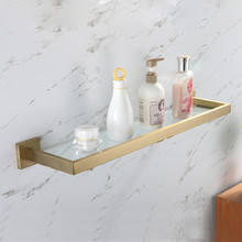 цены European Single Tier Glass Bathroom Shelf Wall Mounted Brushed Gold Stainless Steel Tempered Glass Bathroom Accessories