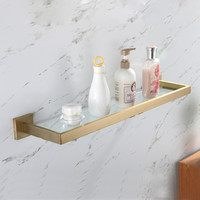 European Single Tier Glass Bathroom Shelf Wall Mounted Brushed Gold Stainless Steel Tempered Glass Bathroom Accessories