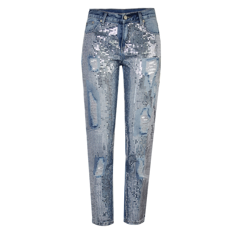 2018 Europe and the United States women`s fashion waist loose straight jeans denim pants ultra-popular metal color embroidery beads washed old holes (8)