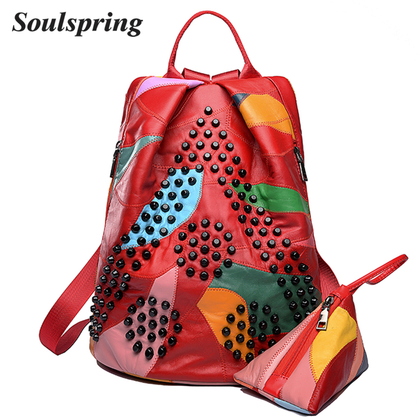 SOULSPRING Brand Genuine Leather Backpack Women School Bags For Teenage  Girls Backpacks Colorful Rivet Backpack 2Pcs Set 2018 d911d2e6a83bf
