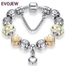 95120e4942d4 2018 antiguo Corazón de plata pulseras del encanto para las mujeres de la  joyería de DIY Original de cristal de Murano cuentas d.