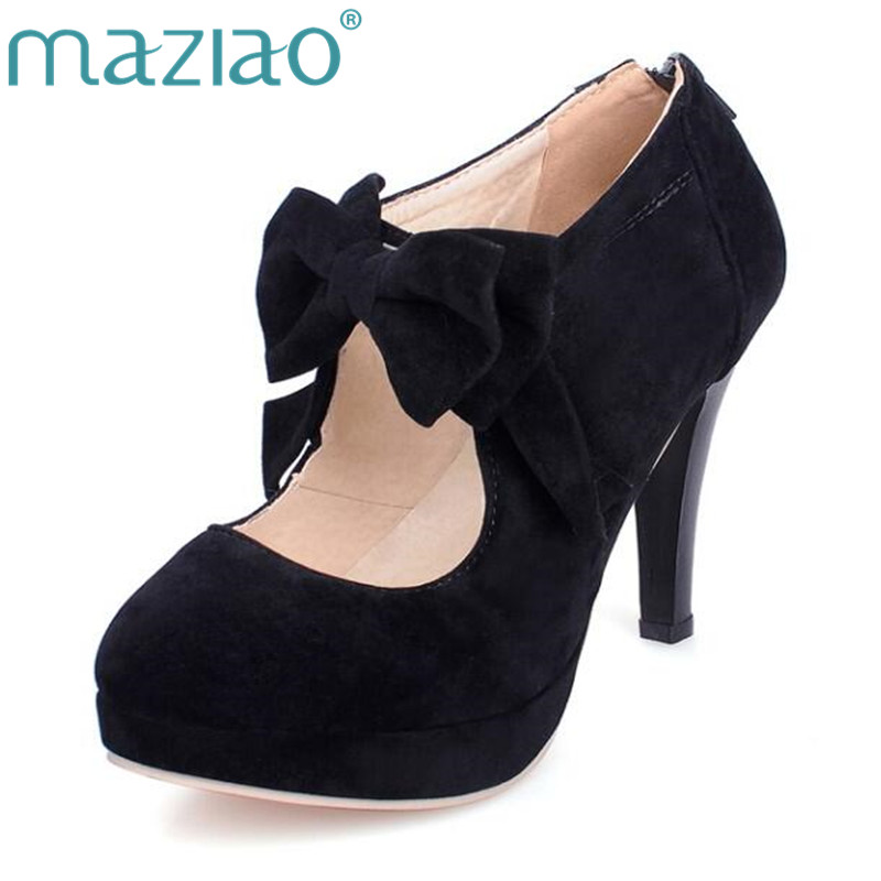 MAZIAO Plus size 32-43 fashion vintage woman small bowtie platform pumps ladies sexy high heels shoes for women wedding shoes 96mm antique brass kitchen cabinet handle rustico pastorale ceramic drawer knob bronze dresser cupboard furniture door handle