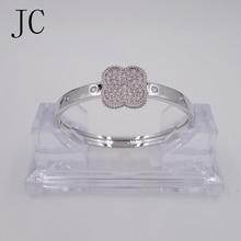 CZ Zircon Love Cuff Bangle Gold color Crystal Brand Lover Charm Bracelets Bangles For Women Men
