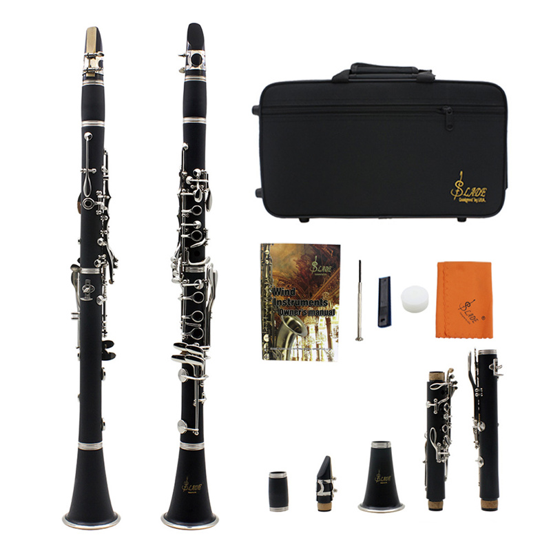 ABS 17 Key Clarinet bB Flat Soprano Binocular Clarinet with Cleaning Cloth Gloves Screwdriver Reed Case Woodwind Instruments excellence bb soprano clarinet bell ebony