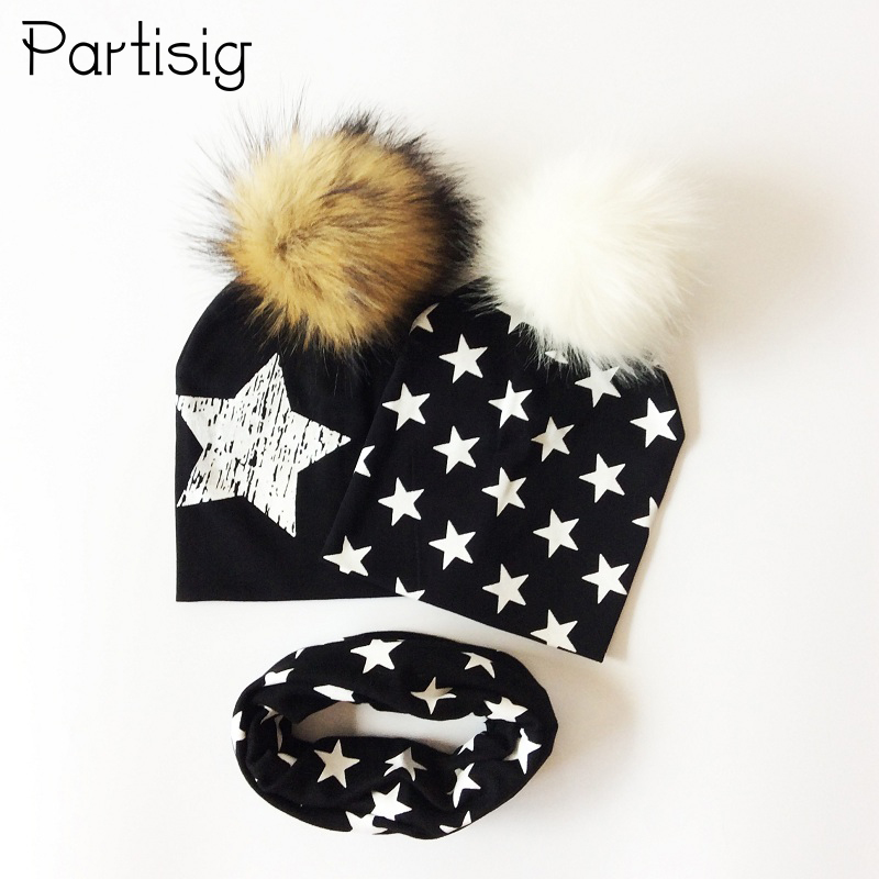Star Print Baby Hat Scarf Cotton Faux Raccoon Fur Ball Cap For Boys Autumn Winter Girls Hats All For Children's Accessories russia fashion autumn winter natural raccoon fur hat warm lei feng hat the cap for men big baby boy outdoor fur hats ns88