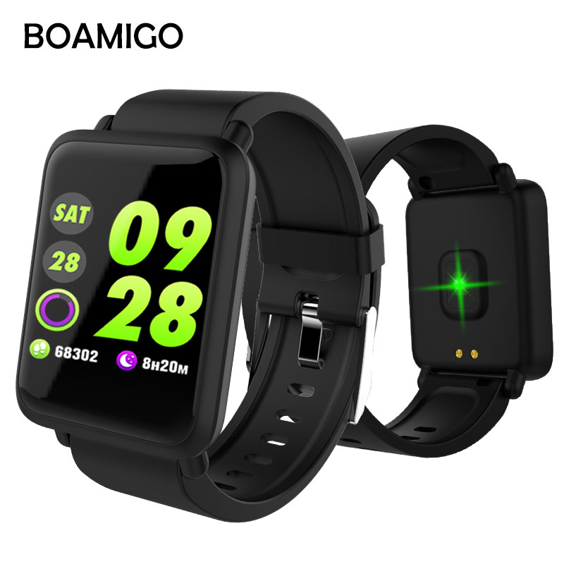 BOAMIGO Smart Watch Bluetooth Pedometer Heart Rate Blood Oxygen Pressure Call reminder Wrist Smartwatch For Android IOS Phone di03 smart watch ip67 heart rate monitor bluetooth 3 0 4 0 call sms reminder pedometer smart wrist watch for ios android
