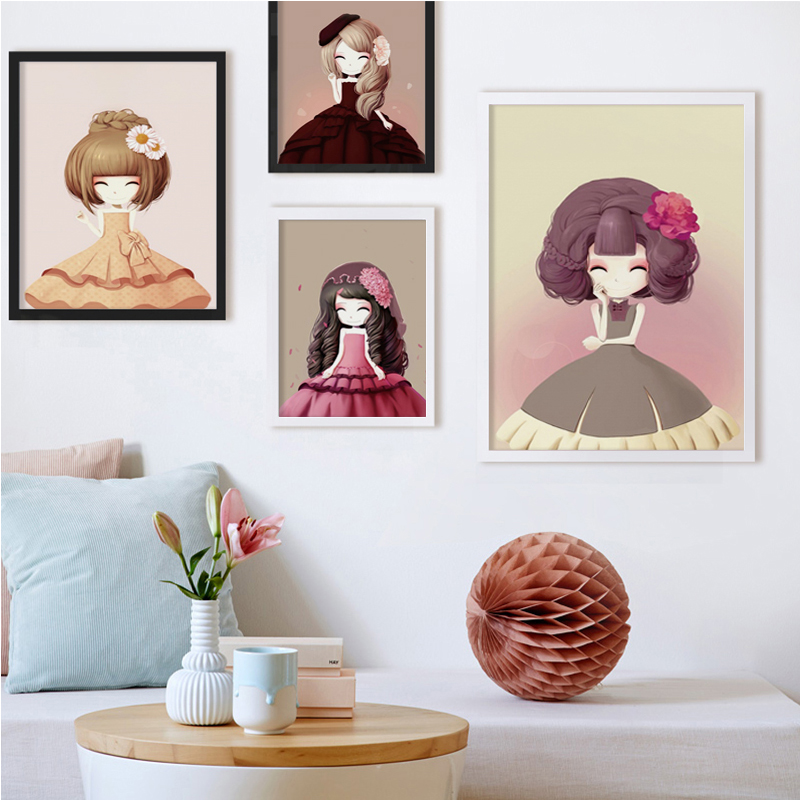 Bianche Wall Princess Cartoon Cute Flower Girl Multi-Size Canvas Painting Print Poster Picture Home Girl Bedroom Decoration