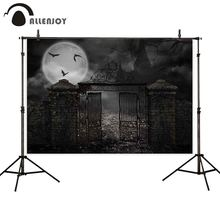 Allenjoy backdrop for photographic studio Halloween Moon bats horror night brick wall iron gate backgrounds photobooth photocall allenjoy photographic backgrounds halloween hall magic wizard moon night sky backdrop photo shoot prop photobooth photophone