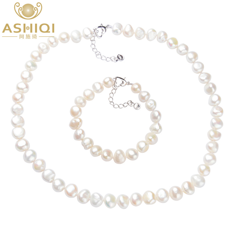 ASHIQI White 9-10mm Natural pearl Jewelry Sets Real Freshwater pearl Necklace Handmade Bracelet for women New ArrivalsASHIQI White 9-10mm Natural pearl Jewelry Sets Real Freshwater pearl Necklace Handmade Bracelet for women New Arrivals