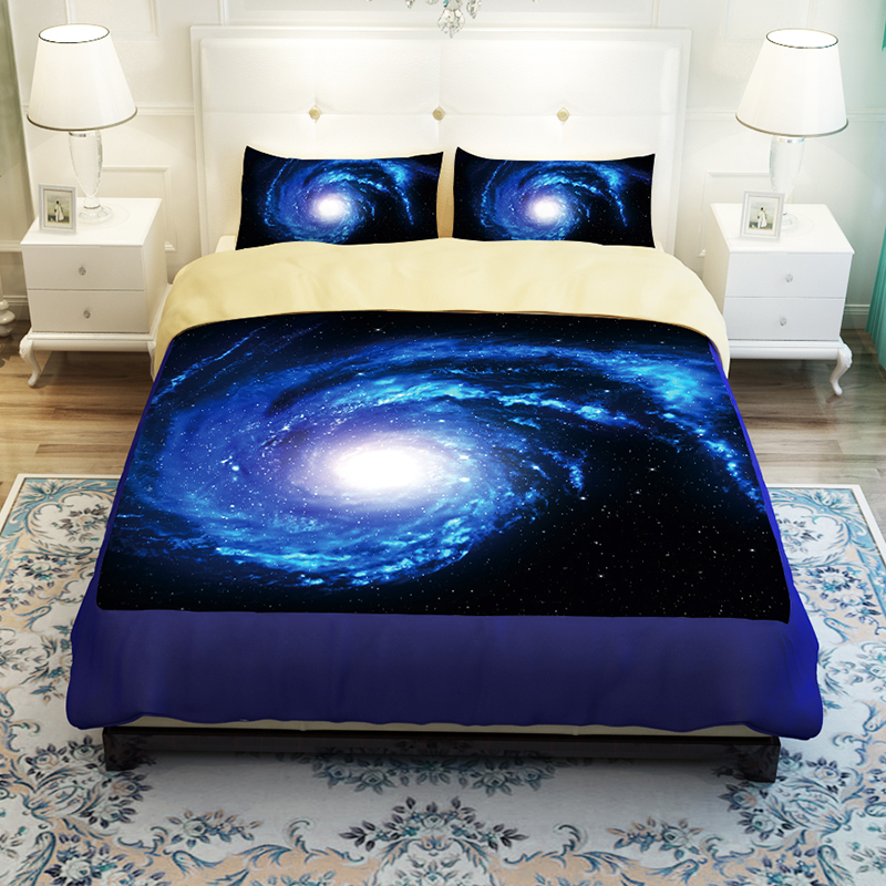 Fancy Blue Spiral Galaxy Universe Bedding Set Duvet Cover Bed Linens Twin Queen King Size Soft Polyester Fabric Textile Sets
