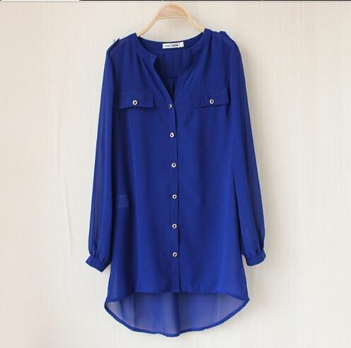 2016 Women Summer Long Casual V-neck Chiffon Shirts Female Blouses Hot Seller