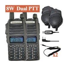 2 adet baofeng uv-82hx walkie talkie 8 w telsiz uv82 taşınabilir iki yönlü radyo fm radyo verici uzun aralığı dual band baofeng UV82