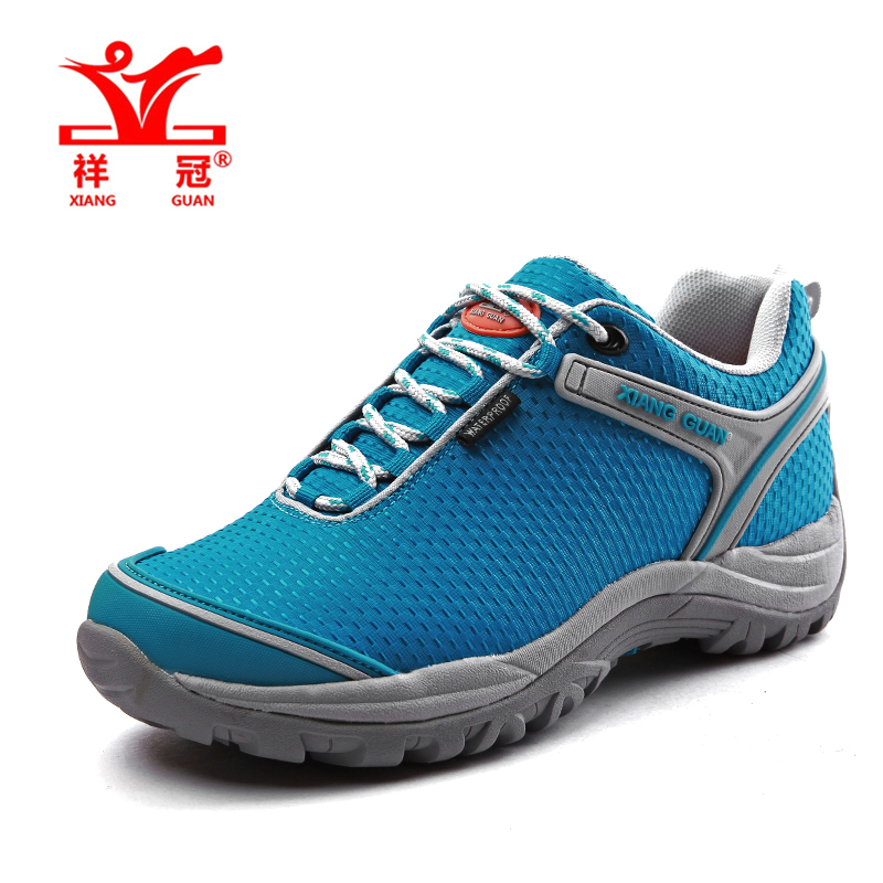ФОТО Water repellent Oxford Women Hiking Shoes Outdoor Mountain Climbing Sneakers Breathable Waterproof  Message Trail Trekking Shoes