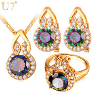 U7 Big Austrian Crystal Wedding Jewelry Sets 18K Gold Platinum Plated Round Earrings Ring Necklace Crystal