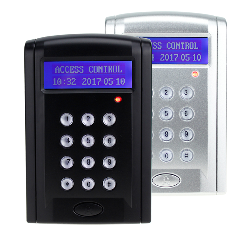 RFID standalone access control with LCD screen 125KHz smart card reader contactless lock with password keypad free shipping good quality fingerprint access control with smart rfid card reader mini power supply and 600lbs magnetic lock