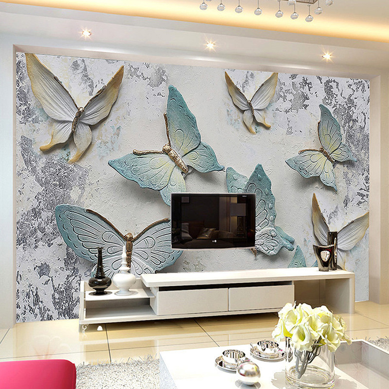 Custom Mural Wallpaper Modern 3d Relief Butterfly Background Wall Paper For Walls Living Room Tv Sofa Home Decor Papel De Parede