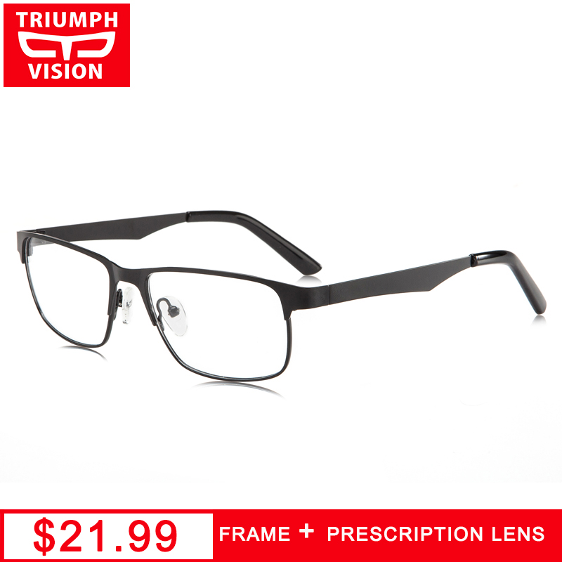 TRIUMPH VISION Computer Reading Glasses Clear Lens Optical Diopter Eyewear Metal Square Eyeglasses Men Prescription Spectacles