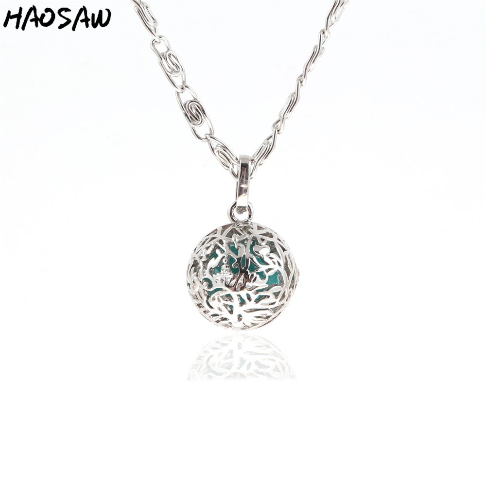 26mm Necklace Tree Hollow Cage Magic Box Ball Music Sound