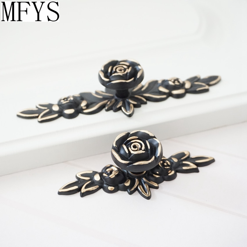 Shabby Chic Dresser Drawer Knobs Pulls Black Gold Rose Flower Kitchen Cabinet Knobs Handles Ornate Knob Back Plate Hardware in Cabinet Pulls from Home Improvement