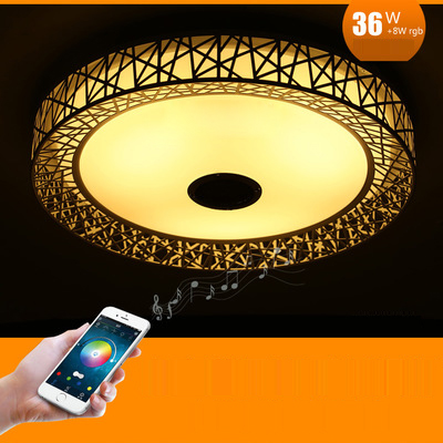 Bird Nest Wireless Bluetooth LED Ceiling Light Music & Multi Colors Changing Smart Remote control Lamp metal & Acrylic lampshade - 4