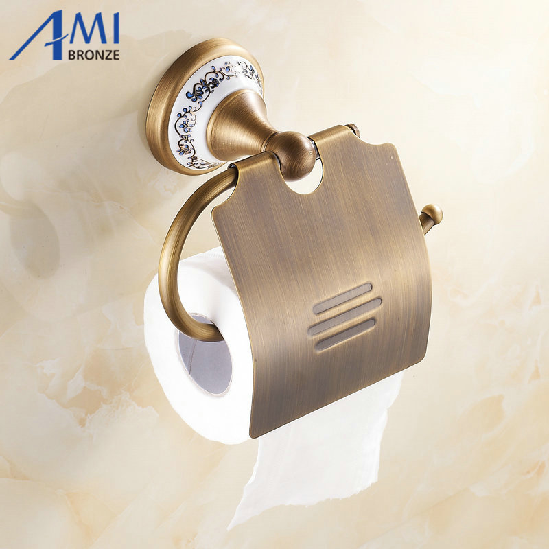 Wall Mounted Bathroom Accessories Antique Brass toilet Paper Holder Porcelain 7002AJP solid brass antique brass bathroom toilet paper holder with brush bathroom accessories wall mounted