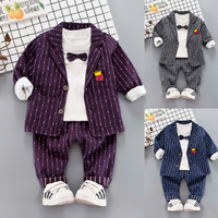 Baby Kids Suit 3 Pcs 1 3 Years Old Little Boys Striped Casual Jacket + Bow T shirt + Pants Children Handsome Clothes Outfit X294