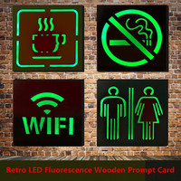Retro LED Fluorescence Wooden Prompt Card Creative Warning Board No Smoking WC WIFI Indicator Light Bar Cafe Public Places Decor