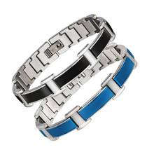 Blue Stainless Steel Health Energy Balance Bracelet Bangle for Arthritis Chains Germanium Magnetic Bracelet For Men Love Gift(China)