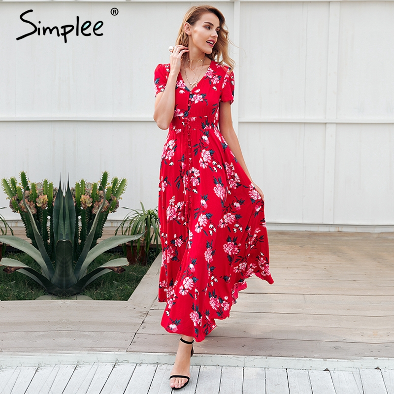 Simplee Floral print red long dress women Short sleeve v ...