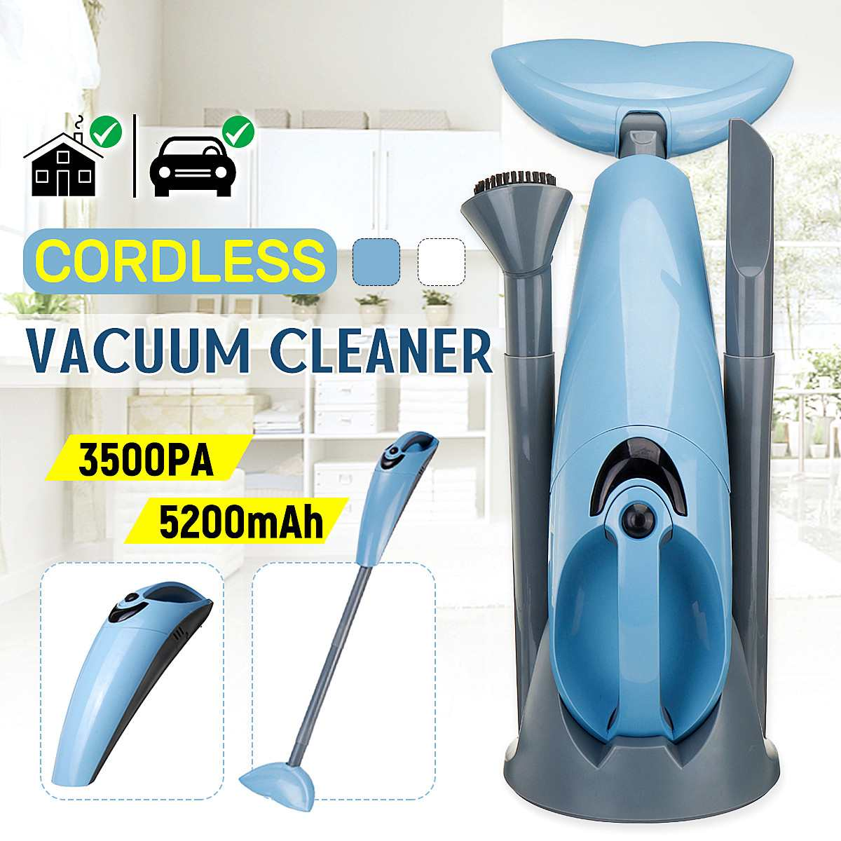 New 100W Handheld Wireless Vacuum Cleaner Portable Home Dust Collector and Aspirator HEPA Filter Strong Suction Cleaning Tool