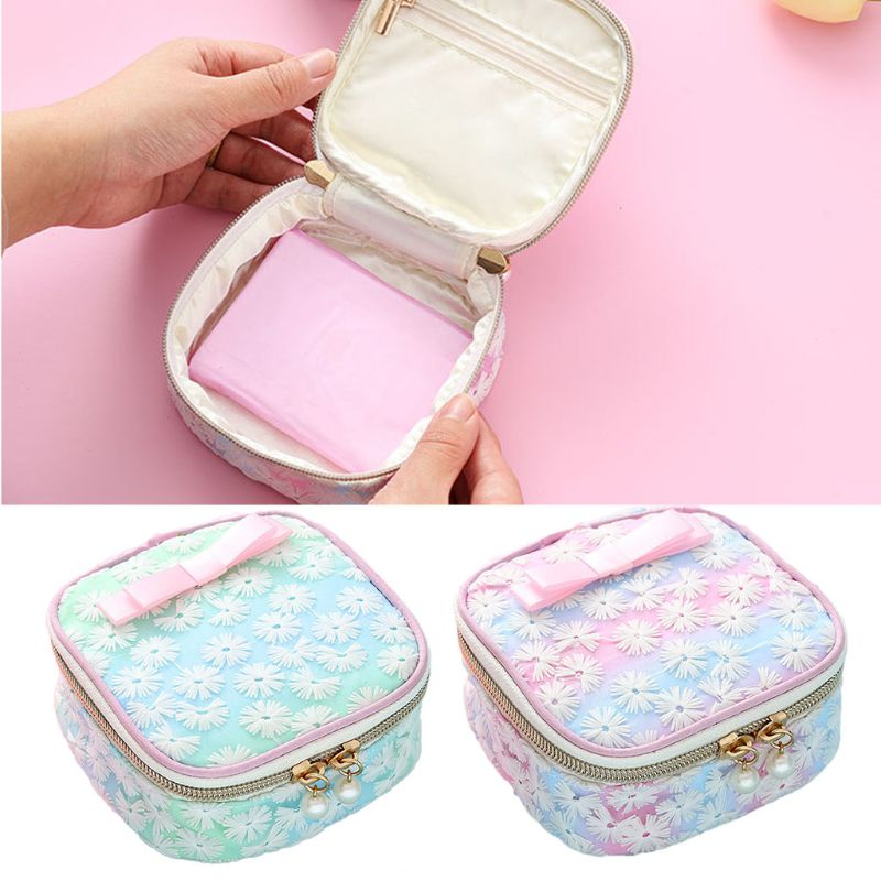 New Arrival Women Girls Cute Mini Travel Accessories Embroidery Sanitary Pad Organizer Holder Napkin Towel Convenience Small Bag