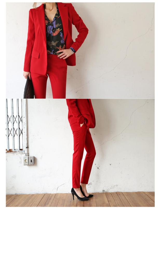 Ms Américain Cultiver Sa Mode 2 Costumes Petit D'affaires Costume 1 Tenue Rouge Et Loisirs Moralité Européen 3 4 Femelle Tempérament De 4x6X1S