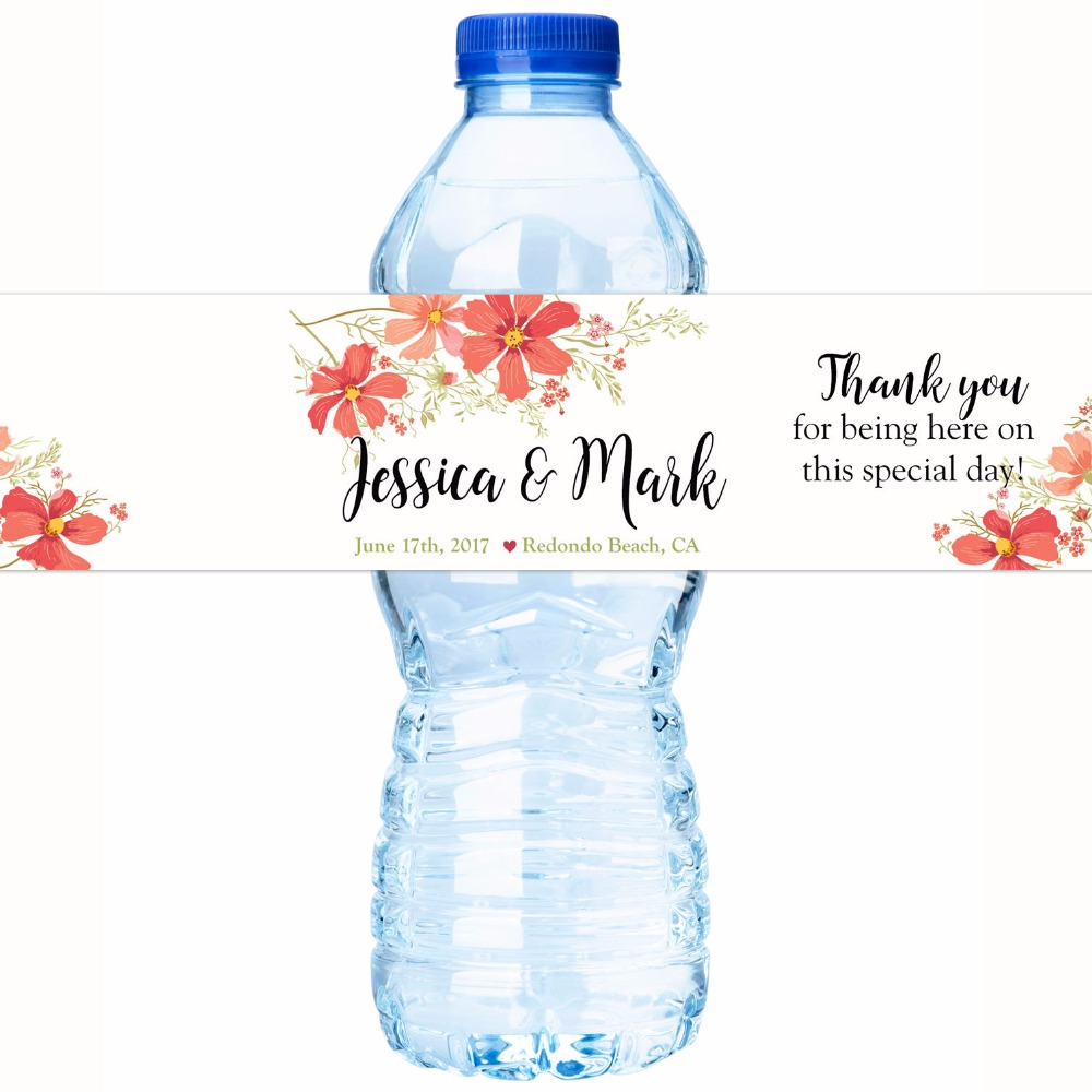 Customized Name Flower Personalized Water Bottle Labels Wedding ...