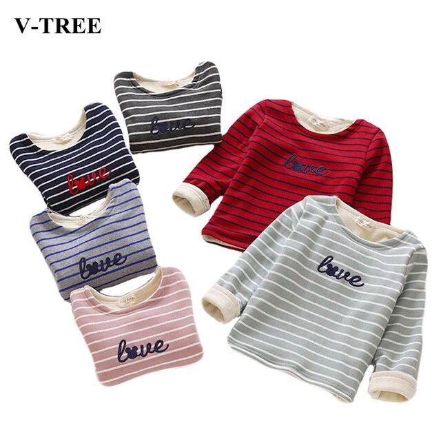 Children Striped Velvet Bottoming Shirt Baby Long Sleeve T-shirt For Girls Striped T-Shirt For Boys Pokemon T Shirt Kids Clothes