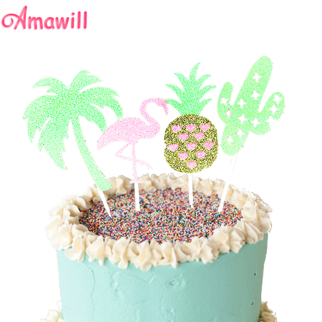 Amawill 4pcs Flamingo Coconut Tree Cactus Cupcake Topper Sparkly Summer Hawaii Party Cake Insert Cards Kids