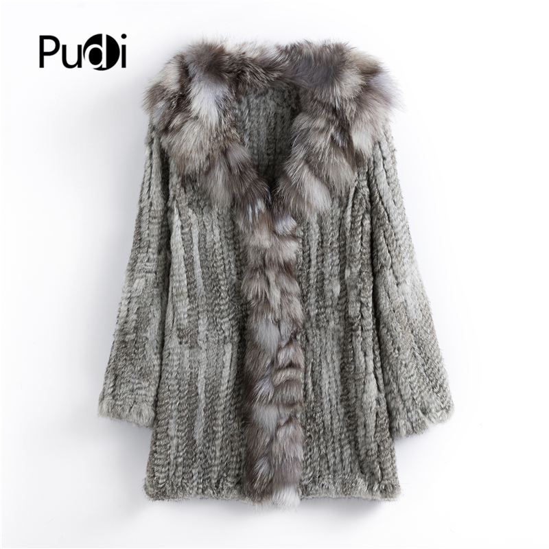 CT903 Pudi 2019 new autumn women genuine rabbit fur coat with real fox fur collar lady