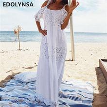 2019 bawełna patchwork Lace sukienka plażowa długa plaża pokrywa się Vestido strój kąpielowy pokrycie UPS Beach sarong Robe de Plage tunika Q689 tanie tanio Poliester bawełna Pasuje do większych niż zwykle Sprawdź informacje o rozmiarach tego sklepu EDOLYNSA Stałe Biały