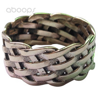 11mm Vintage Solid 925 Sterling Silver Braided Woven Knot Band Ring For Men Women Size 7