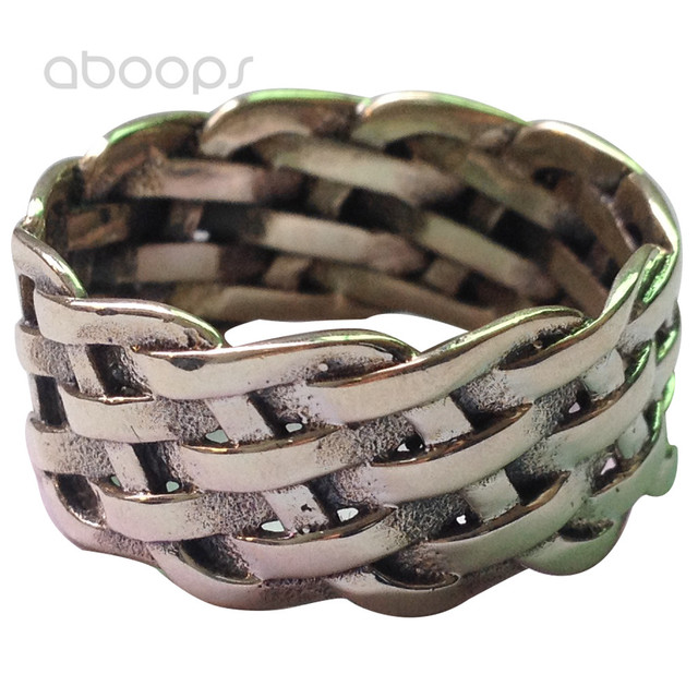 11mm Vintage Solid 925 Sterling Silver Braided Woven Knot Band Ring for Men Women Size 7 8 9 10 11 12 Free Shipping
