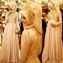 2017 Muslim Cheap Evening Dresses Custom Chiffon Arabic Hijab A Line Lace Appliques Beads and Sequins Long Sleeves Islamic Gowns