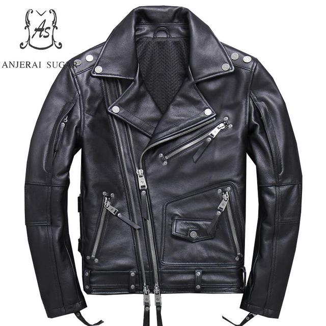 Plus Size cow genuine leather jacket men black Reddish brown Turn-down Collar Diagonal zipper large Punk jacket Motorcycle coat